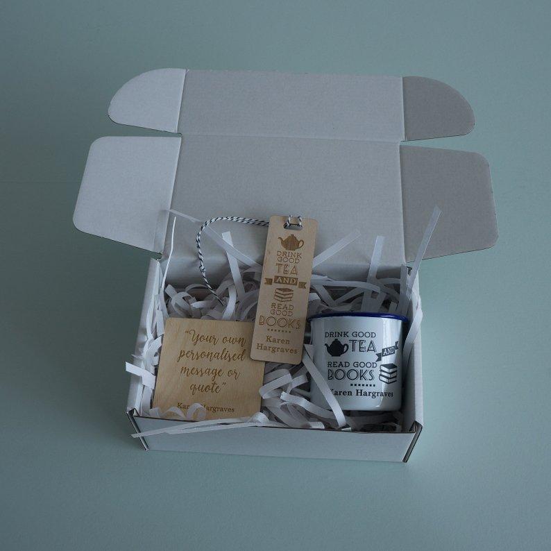 reader's gift box, mug, bookmark, wooden bookmark, coaster